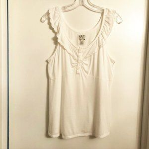Anthropologie White Cotton Knit Tank Top Size XL